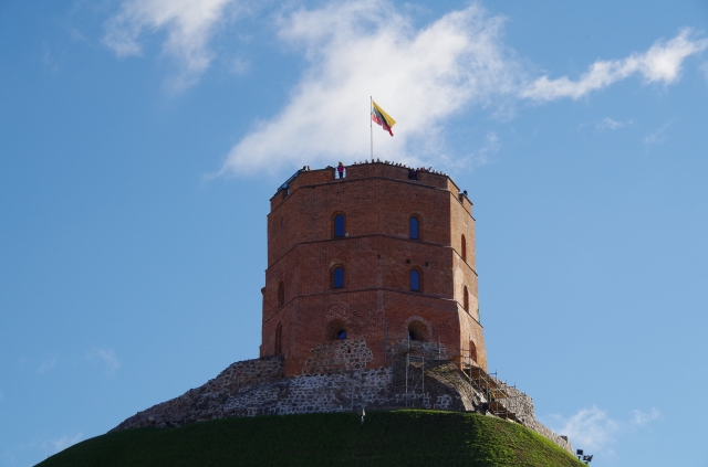 Flag of Lietuva on top of Vilnius Castle