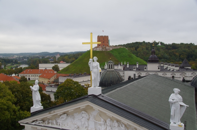 View of Cathedral Roof, Vilnius castle and Three Crosses