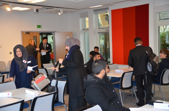 Students assembling for the assessment centre