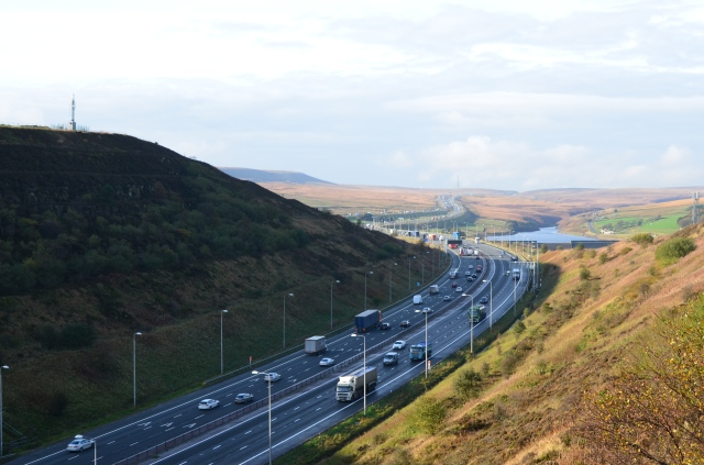 View from the bridge over the M62 looking west towards the