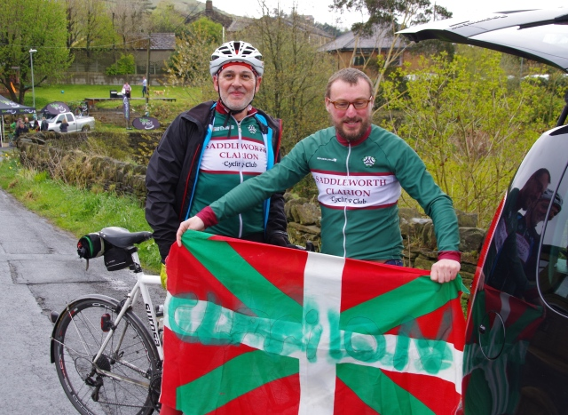 members of Saddleworth Clarion Cycling Club and the Basque flag
