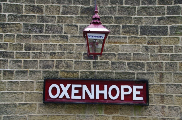 Oxenhope station with a still working gas lamp