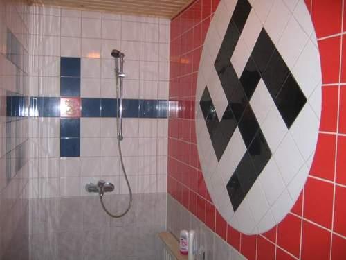 """described in the brochure as """"contemporary bathroom with hints of Germanic undertones""""........"""