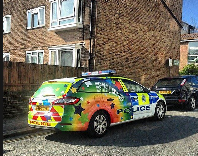 Police car prepared for the Gay Pride parade