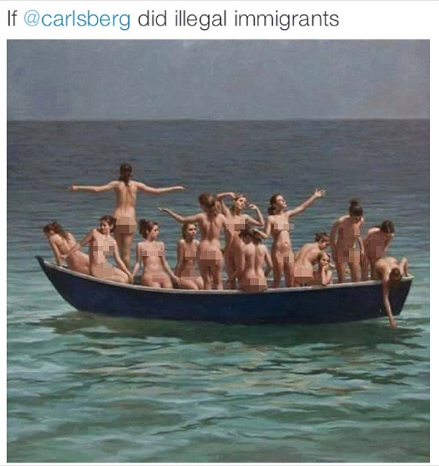 STIAN_TORY COUNCILLOR SHAME_IMAGE001\n\nA TORY councillor is being investigated by council chiefs after sharing photo of a boat full of 14 naked women with a caption reading 'If Carlsberg did illegal immigrants'.\nMike Kusneraitis, a Conservative councillor on the Tory-run Runneymede Borough Council in Surrey, said he should be judged on his actions in the community, not by 'misjudged postings on social media'.\nThe councillor admitted making a number of 'offensive' postings on a Facebook page, which have now been removed.\nAmong the postings included a dog with a towel on his head and a sexually explicit cartoon, both posted on the Facebook page of the Peoples Front of Egham, which is currently unavailable.\nHe also posted an image on July 24 showing a boat full of 14 naked women, with a caption reading 'If Carlsberg did illegal immigrants'.\nWriting on his own Facebook page at the weekend, Cllr Kusneraitis, of Egham, Surrey, apologised if he offended anyone.\n\nImage shared by Mike Kusneraitis\n\nSTIAN ALEXANDER 07528 679198\n