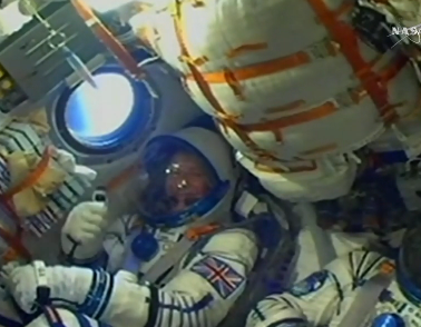 "Major Tim Peake after ""blast off"""