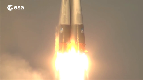 The rockets at full power at take off