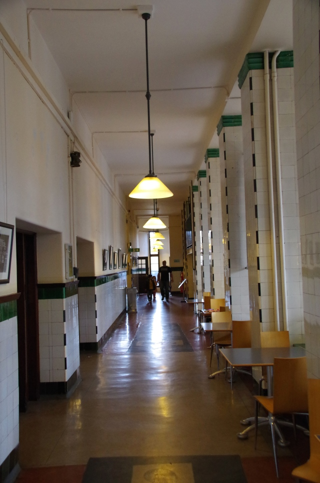 Stark and imposing tiled corridors